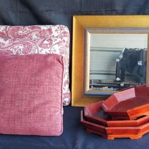 Lot # 50 - Decorative lot-  Throw Pillows,  Asian Trays, Gold Framed Mirror