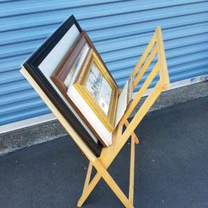 Lot # 58 - Wood Art Rack with Collection of Vintage Photographs (1919-1929) Magazine Ads