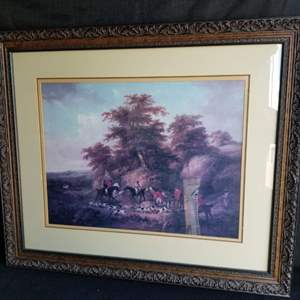 """Lot # 60 - Beautifully framed  """"End of the Hunt"""" by George Morland"""