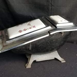 Lot # 61 - Antique English Cast Iron and Porcelain Coal Scuttle (LFB Metal Foundry  c1900s (heavy)