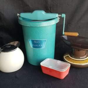 Lot # 70 - Vtg Lot- Sears Ice Cream Maker, Pyrex refrigerator container, European Tea Kettle,  Vtg scale