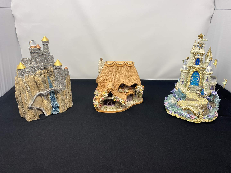 Lot # 21 - Handmade English Rose Cottage, The Enchanted Kingdom by John Hopkins, Moonlight Serenade Musical Castle  (main image)