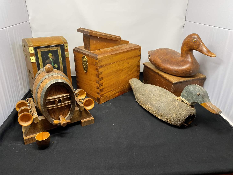Lot # 28 - Antique Wood Duck Decoy, Ceramic Duck, Shoe Clean Kit, Wood Barrel Decanter & More.. (main image)