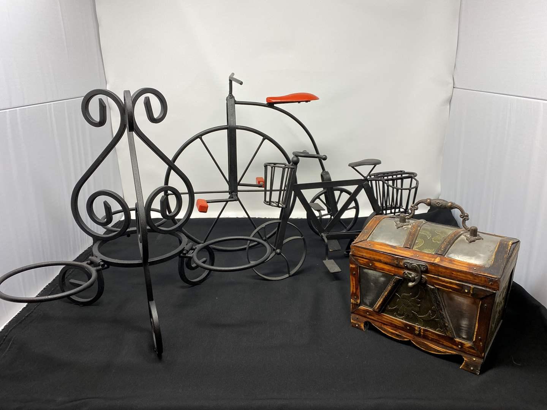 Lot # 37 - Wrought Iron Bicycle Decor, Wrought Iron Candle Holder, Small Wood Box (main image)