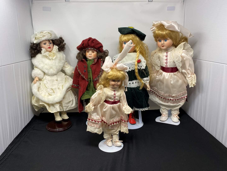 Lot # 55 - Five Porcelain Dolls  (main image)