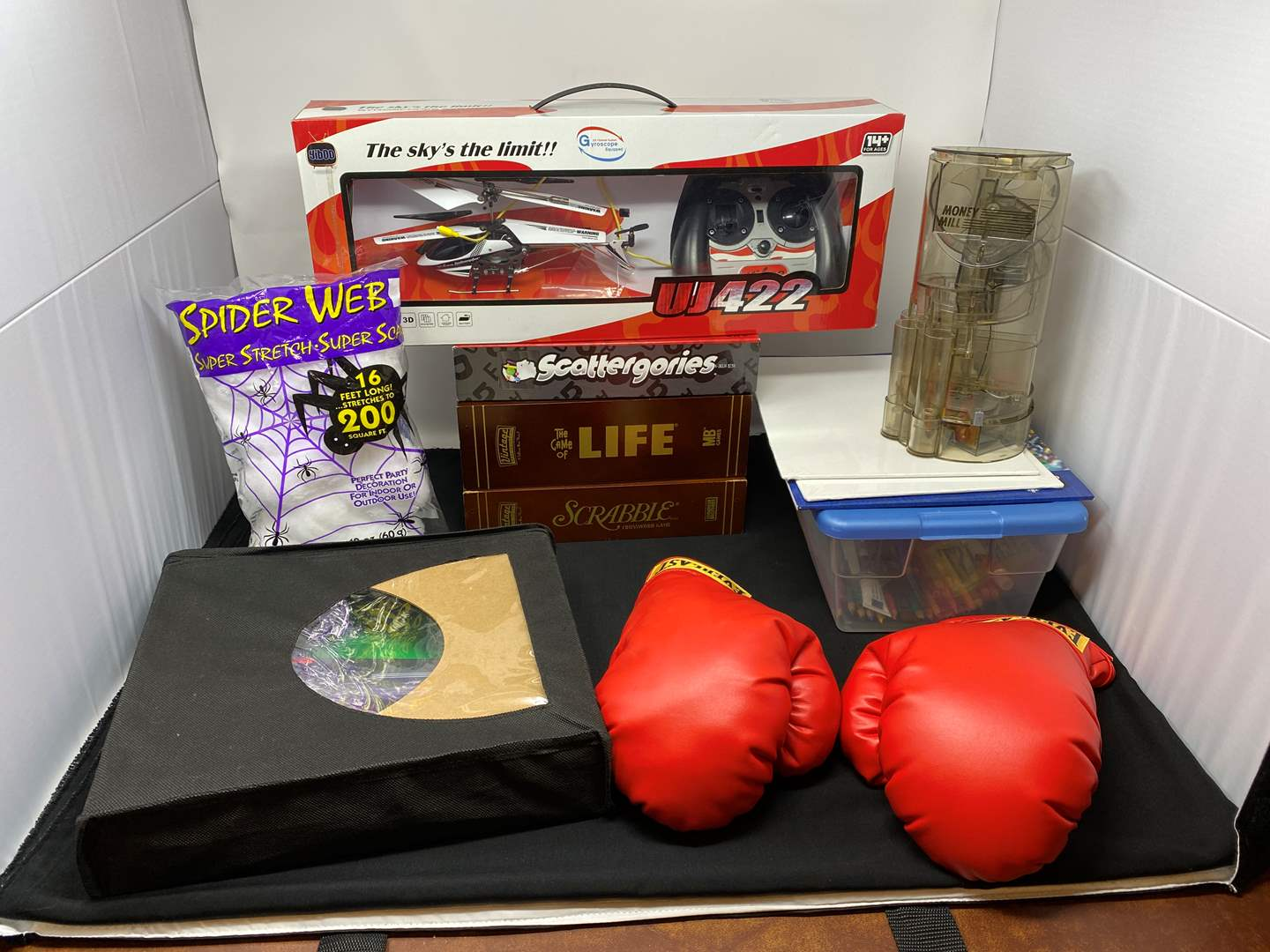 Lot # 56 - Remote Controlled Helicopter, Games, Boxing Gloves, Art Supplies & More..  (main image)