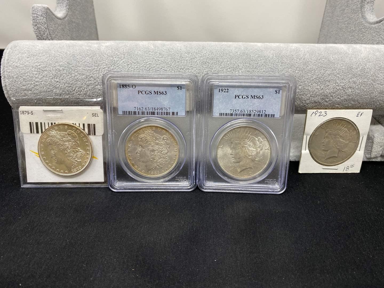 Lot # 79 - 1879-S Morgan Silver Dollar, 1885-O Morgan Silver Dollar, 1922 Liberty Dollar, 1923 Liberty Dollar (main image)