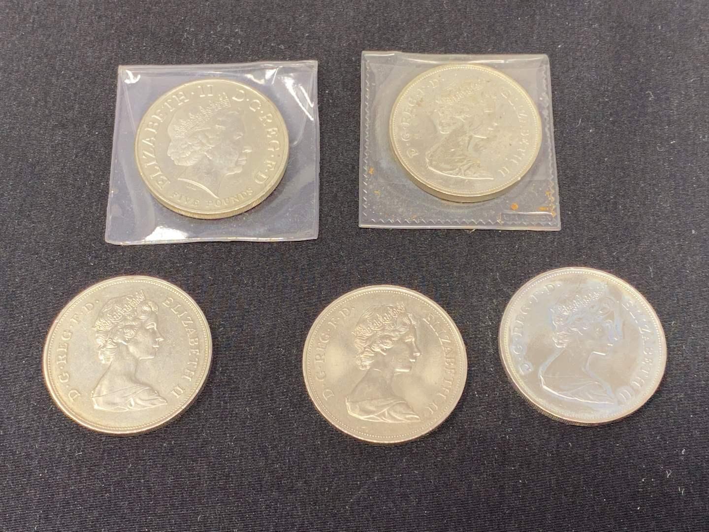 Lot # 82 - Five D.G. REG. F.D Queen Elizabeth II 5-Pound Coins. (main image)