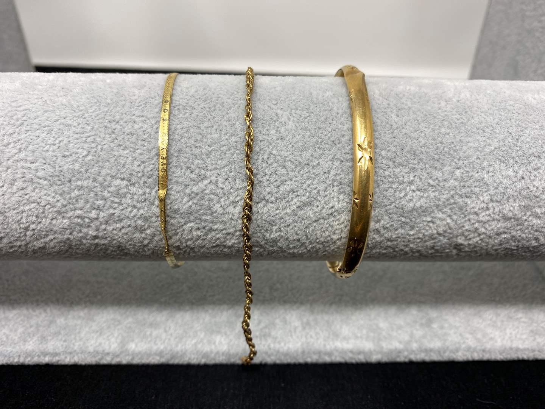 Lot # 86 - Three Damaged 14k Gold Bracelets - (Stamped & Tested - 6.64 grams). (main image)