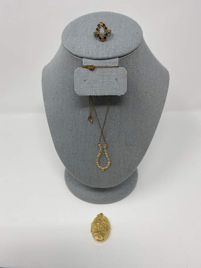 Lot # 109 - 10k Gold Pendant, 10k Gold Ring, 10k Gold Necklace - (Stamped & Tested - 11.94 Grams). (main image)