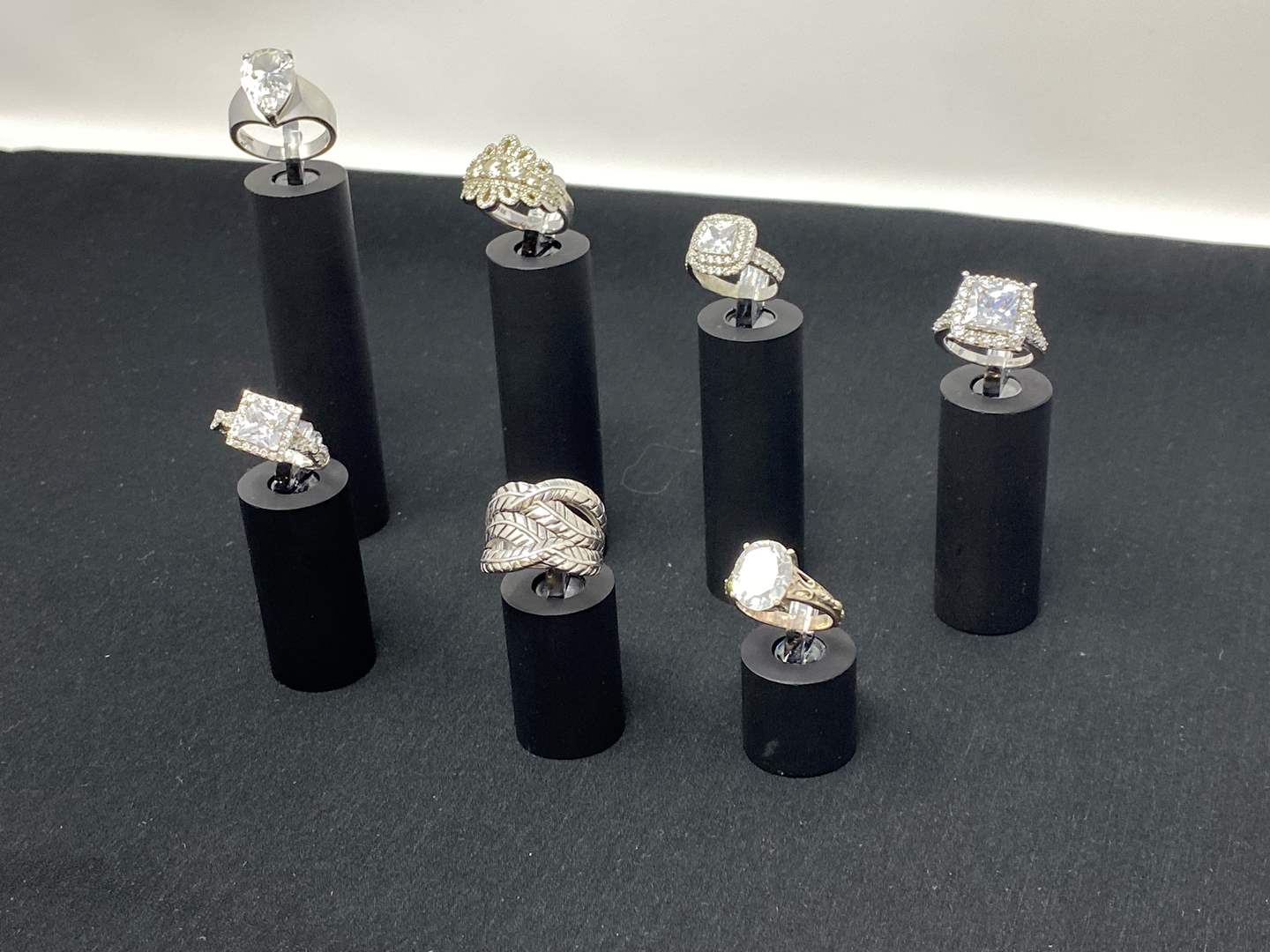 Lot # 110 - Seven Sterling Silver Rings - (Stamped .925 - 40.66 Grams). (main image)