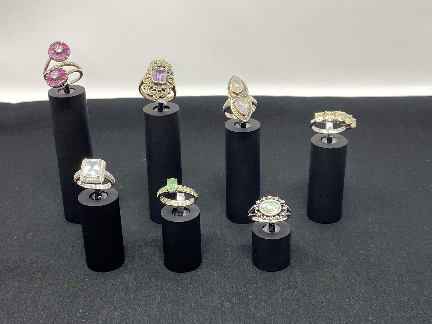 Lot # 113 - Seven Sterling Silver Rings - (Stamped .925 - 33.35 Grams). (main image)