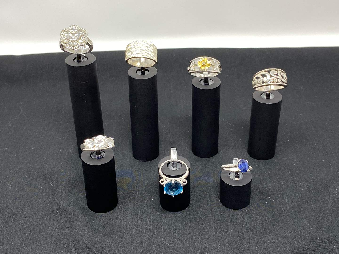 Lot # 116 - Seven Sterling Silver Rings - (Stamped .925 - 34.42 Grams). (main image)
