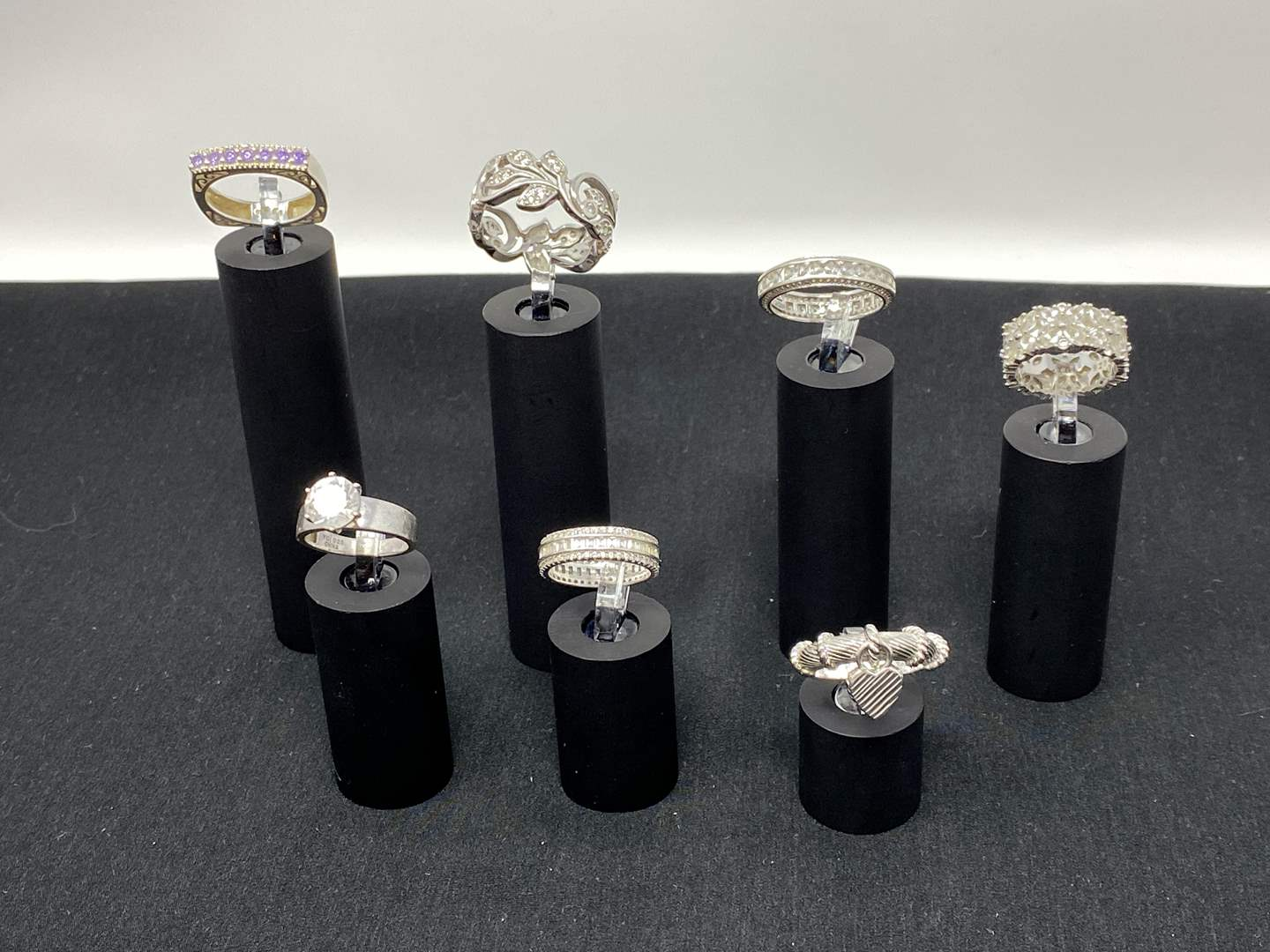 Lot # 118 - Seven Sterling Silver Rings - (Stamped .925 - 30.10 Grams). (main image)