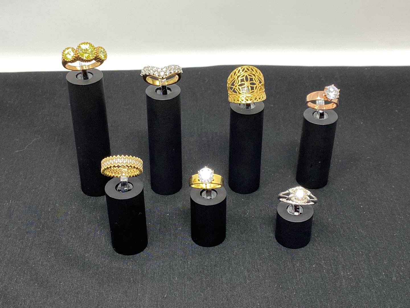 Lot # 120 - Seven Sterling Silver Rings - (Stamped .925 - 28.87 Grams). (main image)