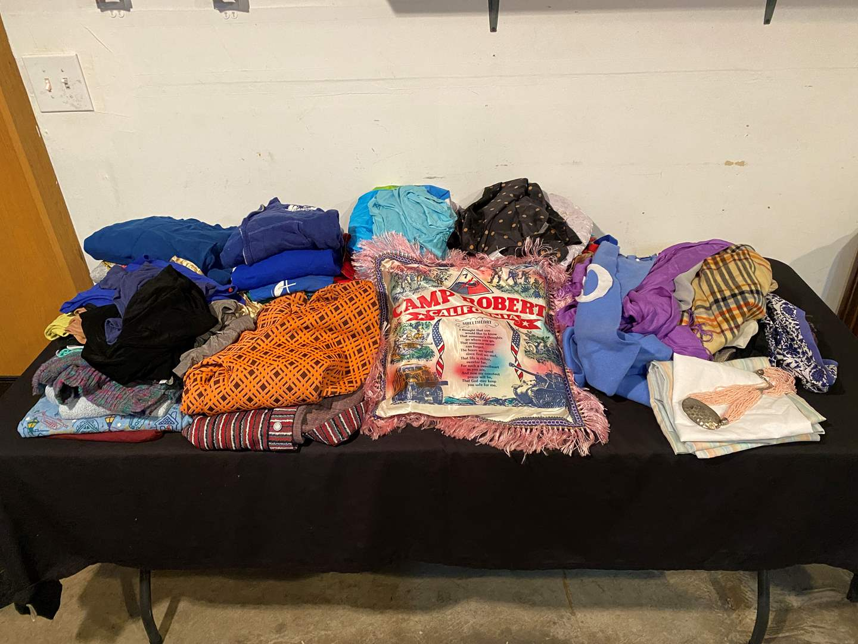 Lot # 143 - Woman's Clothing of Various Sizes: Silk Pajamas, Scarves, Shirts, & More. (main image)