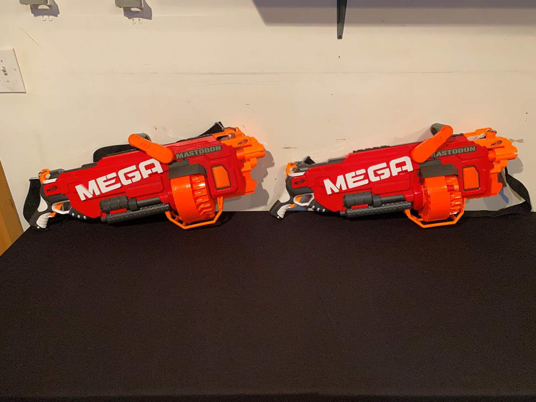 Lot # 151 - Two Huge Mega Mastodon Battery Powered Nerf Guns - (Both Work) (main image)