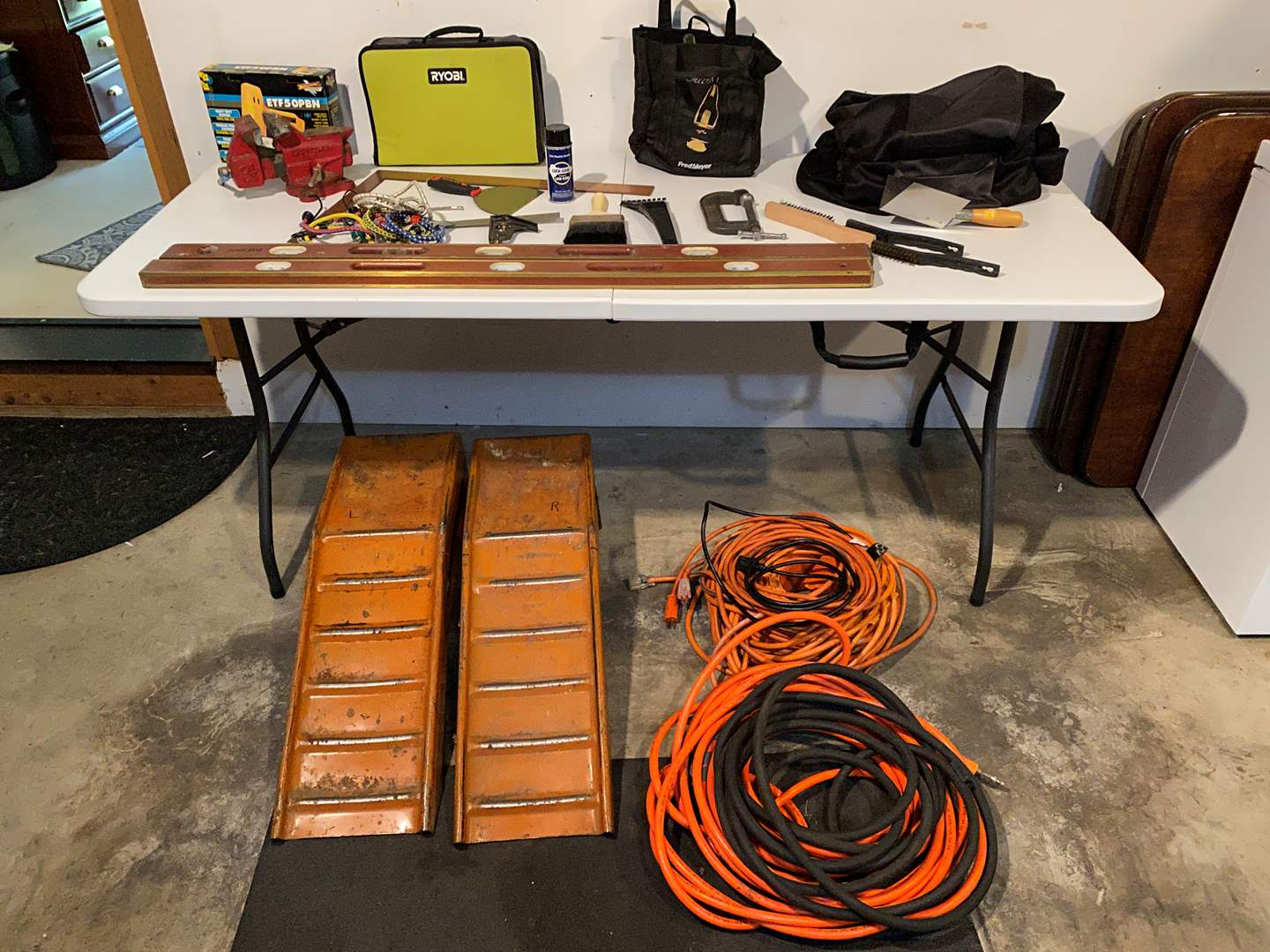 Lot # 156 - Tools: Car Ramps, Craftsman Vice, Vintage Levels, Extension Cords, Ryobi Drill & More (main image)