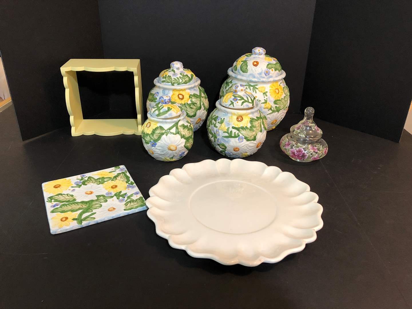 Lot # 52 - Canisters, CALF USA H16 Serving Dish, Small Shelf & Glass Candy Dish (main image)