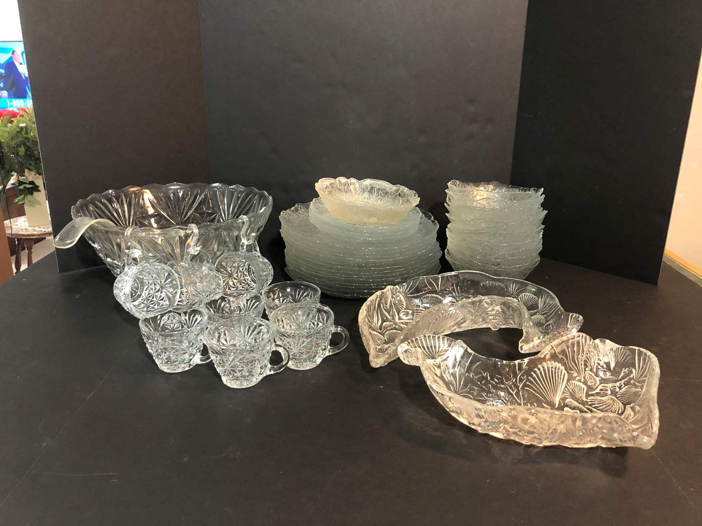Lot # 57 - Crystal Glass Punch Bowl & Cups, Plates, Bowls, Dolphin Dishes & More..  (main image)