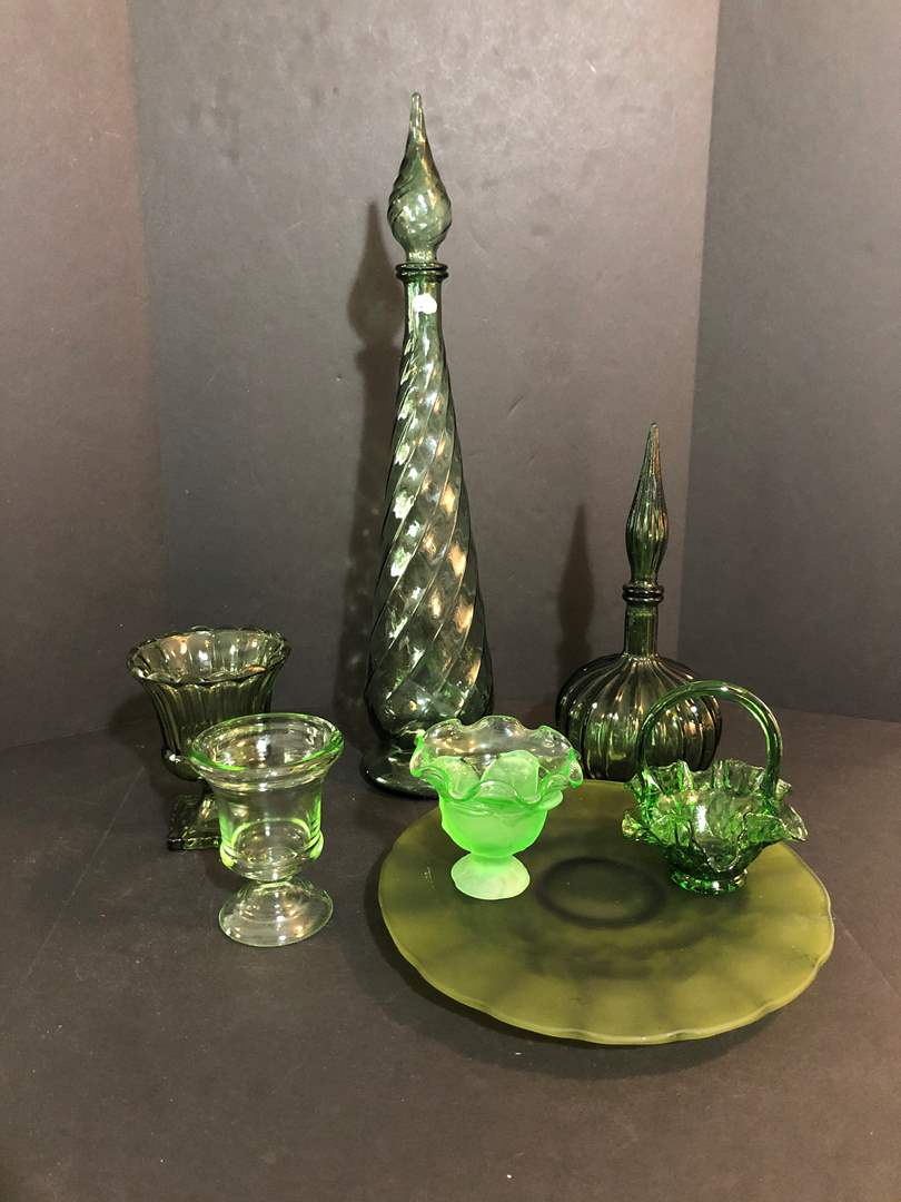 Lot # 60 - Awesome Vintage Green Decanters, Cake Plate & Candy Dishes (main image)
