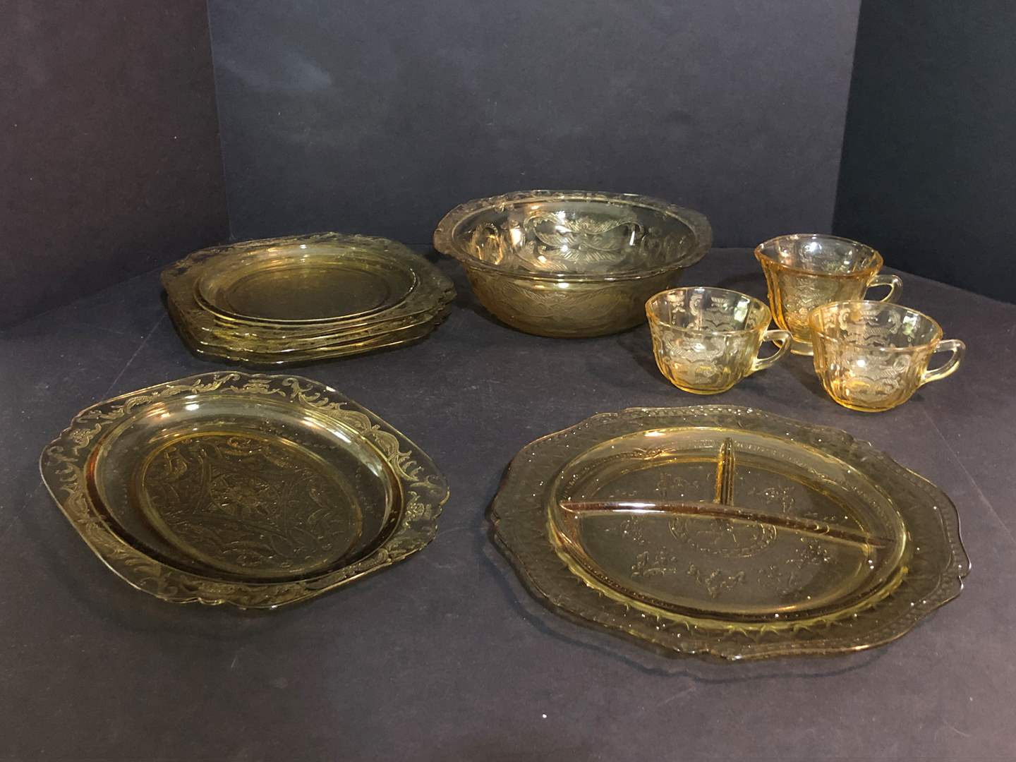 Lot # 62 - Yellow Tint Depression Glass: Plates, Bowls, Serving Dishes & More..  (main image)