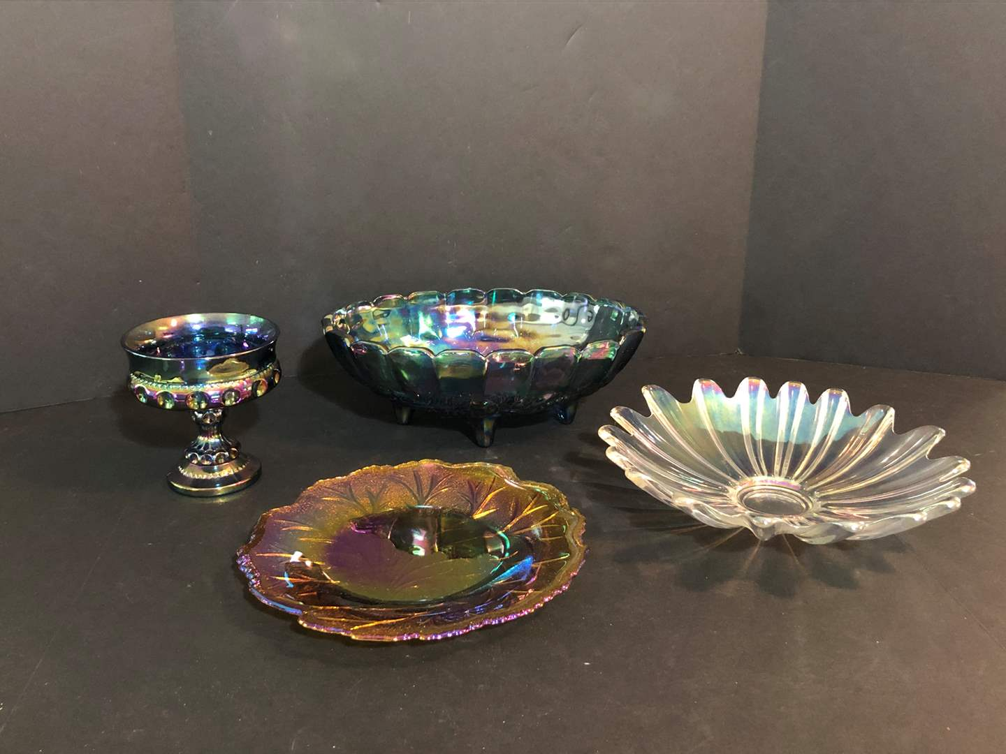Lot # 64 - Selection of Iridescent Glass Serving Dishes  (main image)