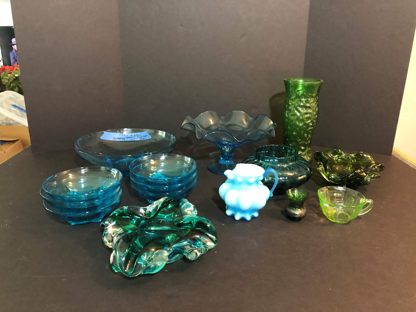 Lot # 65 - Selection of Blue Serving Dishes, Green Candy Dish, Depression Glass Tea Cup  (main image)