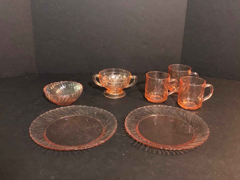 Lot # 66 - Pink Tone Glassware & Depression Glass (main image)