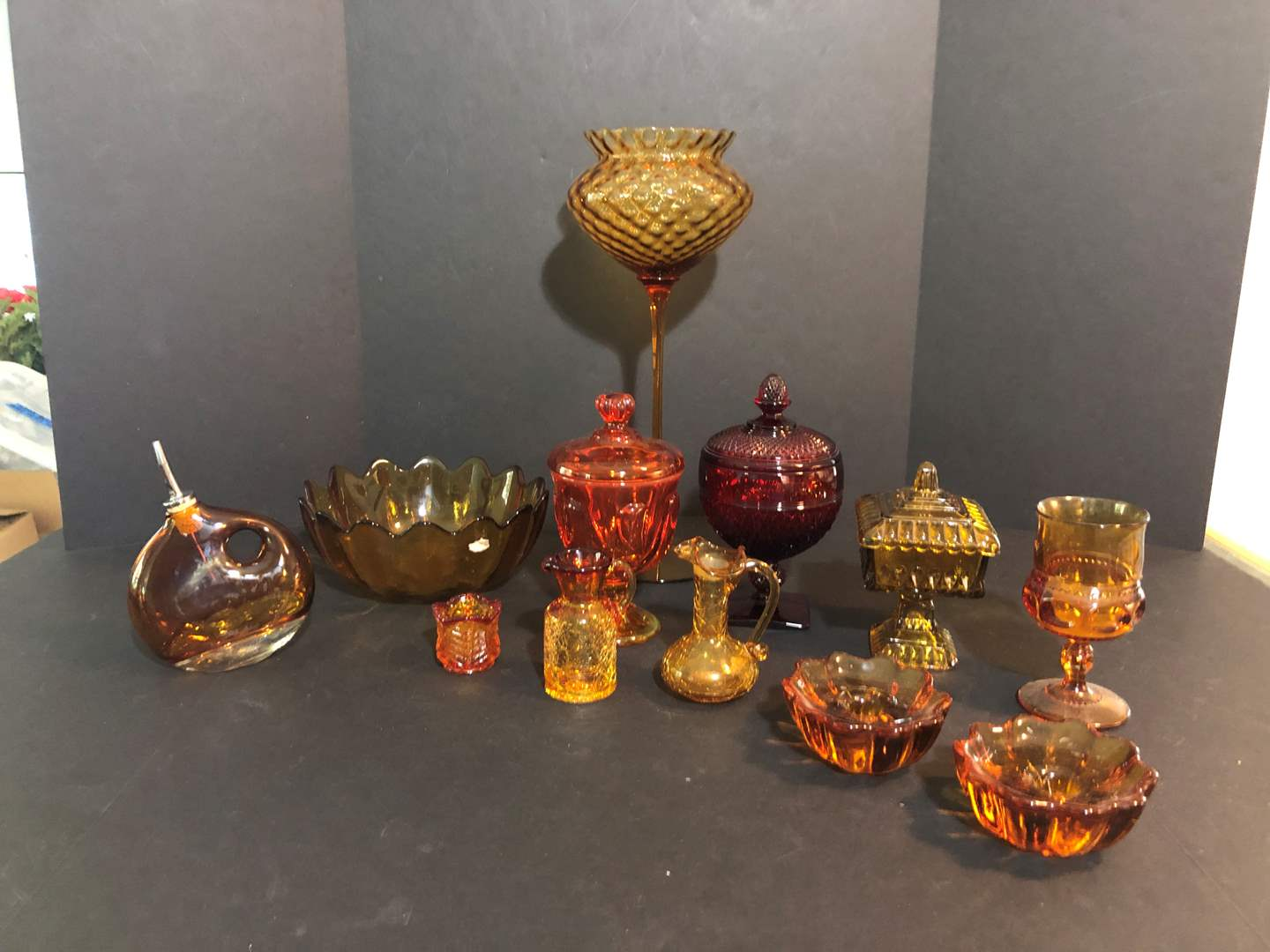 Lot # 67 - Amber, Cranberry & Carnival Glass Bowls, Candy Dishes & More.. (main image)
