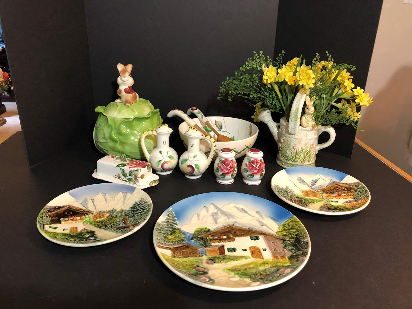 Lot # 71 - Three Awesome Plates Made in Western Germany & Salad Bowl, Peter Rabbit Cookie Jar & More..  (main image)