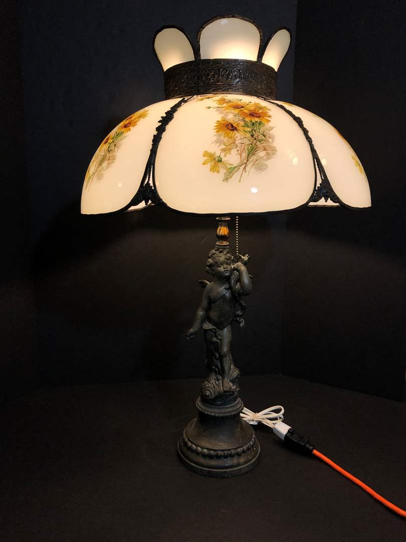 Lot # 73 - Awesome Antique Metal Lamp w/ Stained Glass Shade  (main image)