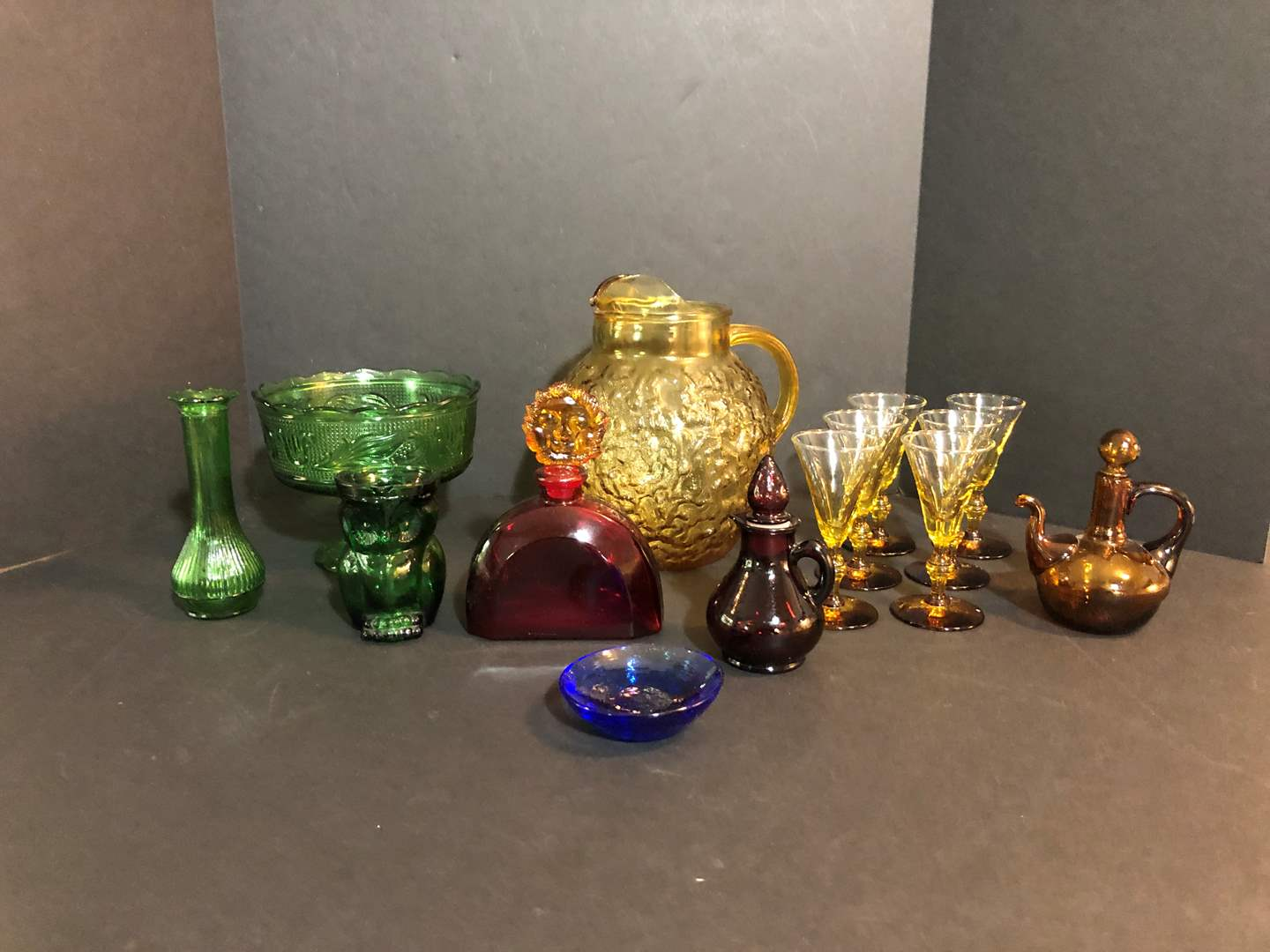 Lot # 74 - Awesome Selection of Amber & Green Glass, Some Cranberry Glass  (main image)