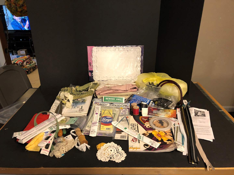 Lot # 157 - Leather Items, Batting, Zippers & Stitch Books (main image)