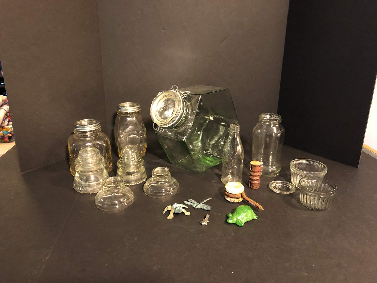 Lot # 192 - Awesome Hermetic Glass Canister, Vintage Glass Insulators, Jars & More..  (main image)