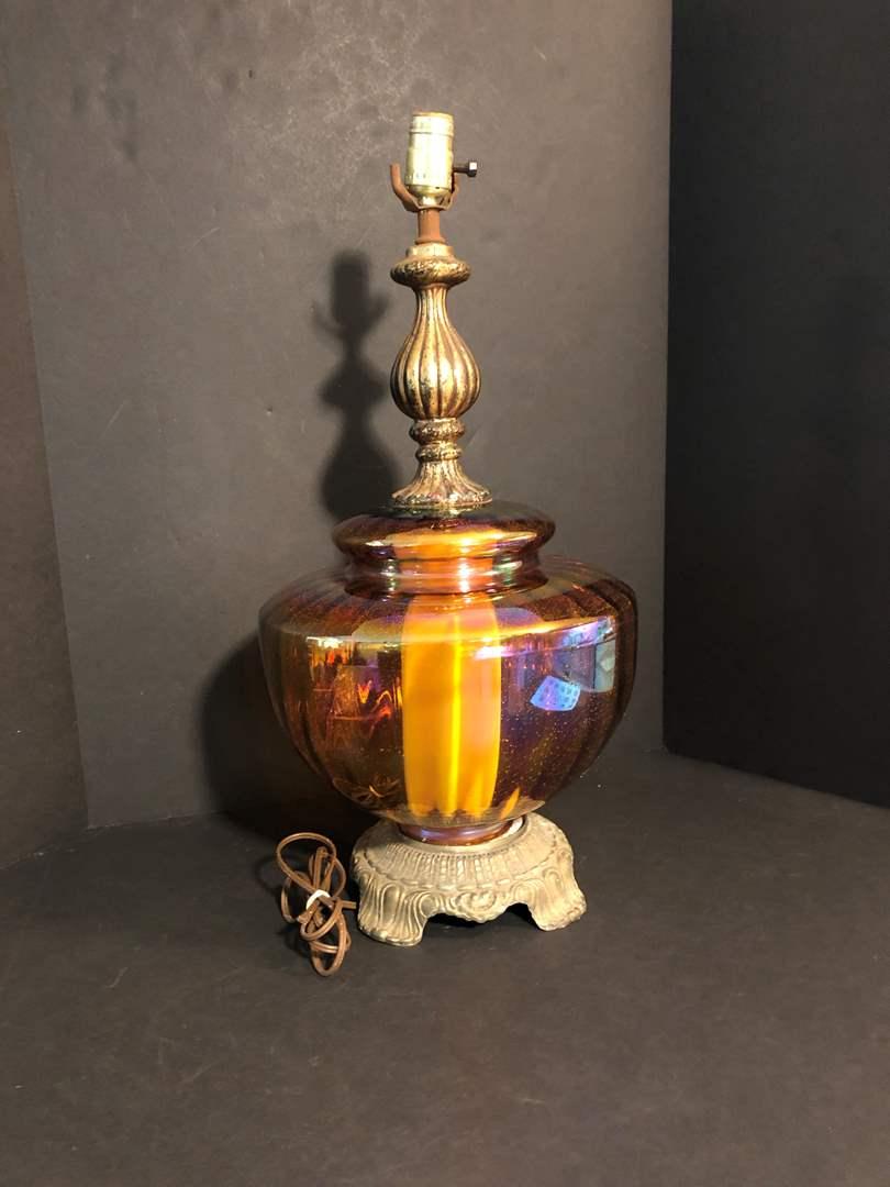 Lot # 195 - Awesome Iridescent Glass Lamp Base (main image)