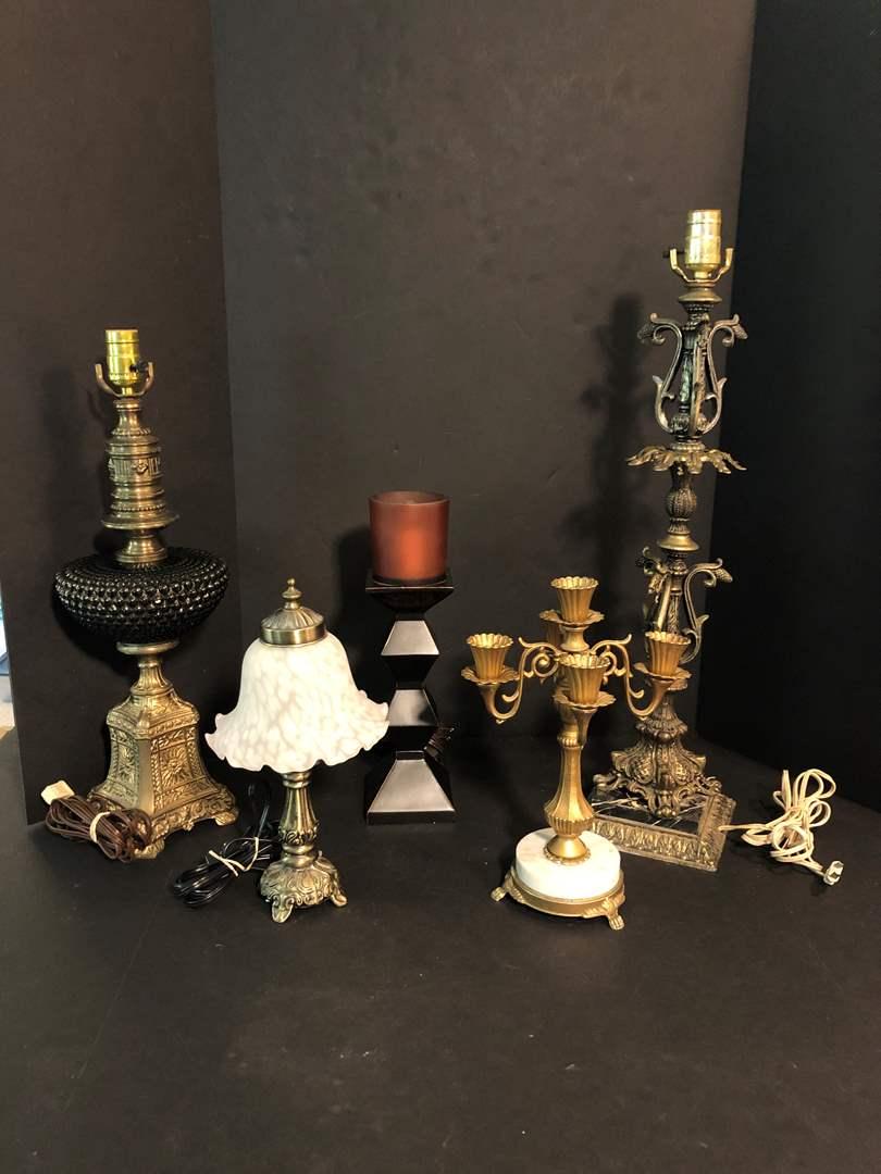 Lot # 197 - Four Vintage Lamps & 1 Large Candle Holder (main image)