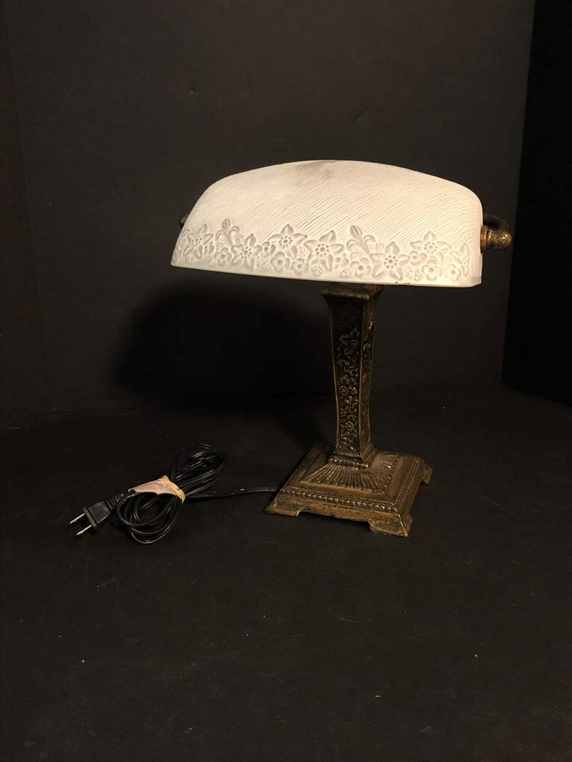 Lot # 198 - Awesome Heavy Brass Floral Bankers Lamp (main image)