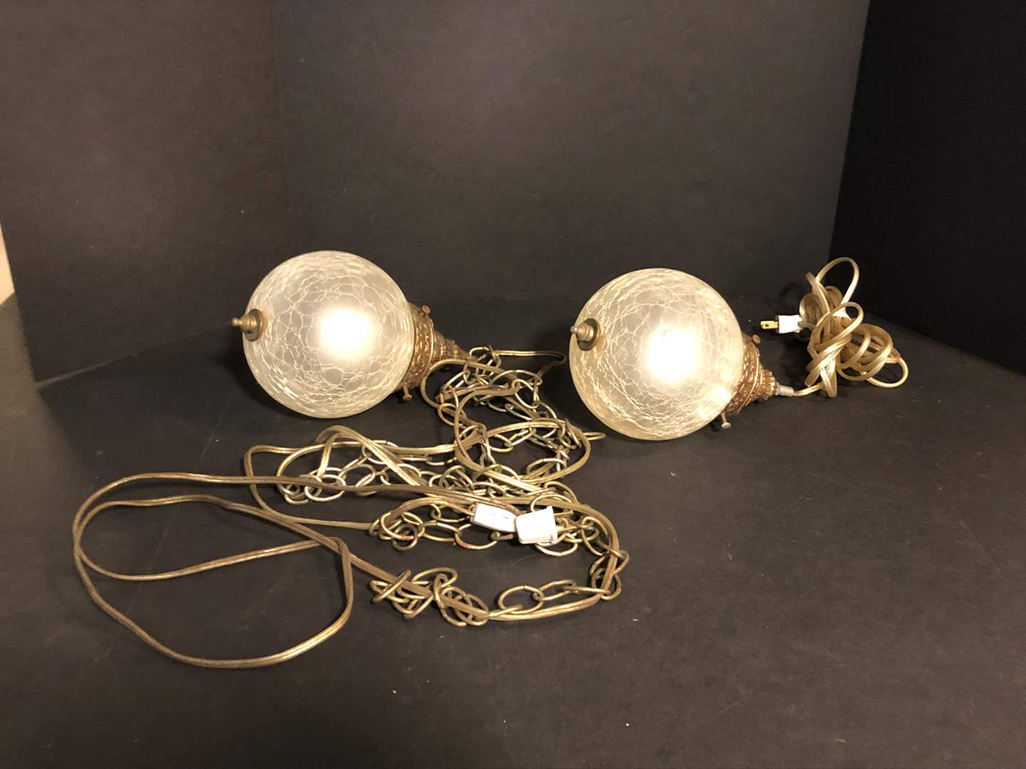 Lot # 199 - Two Awesome Vintage Brass Swag Lamps  (main image)
