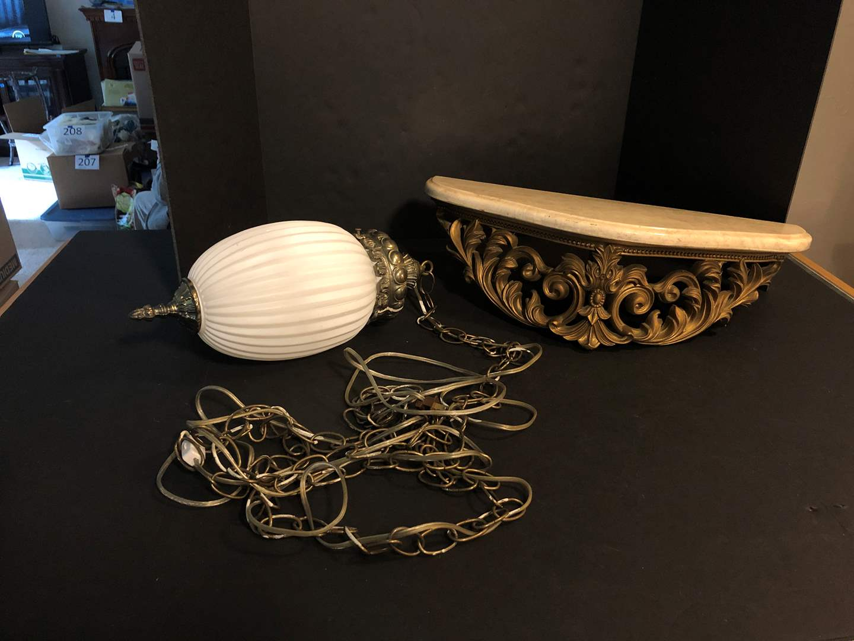 Lot # 169 - Nice Swag Lamp & Heavy Marble Decorative Shelf  (main image)