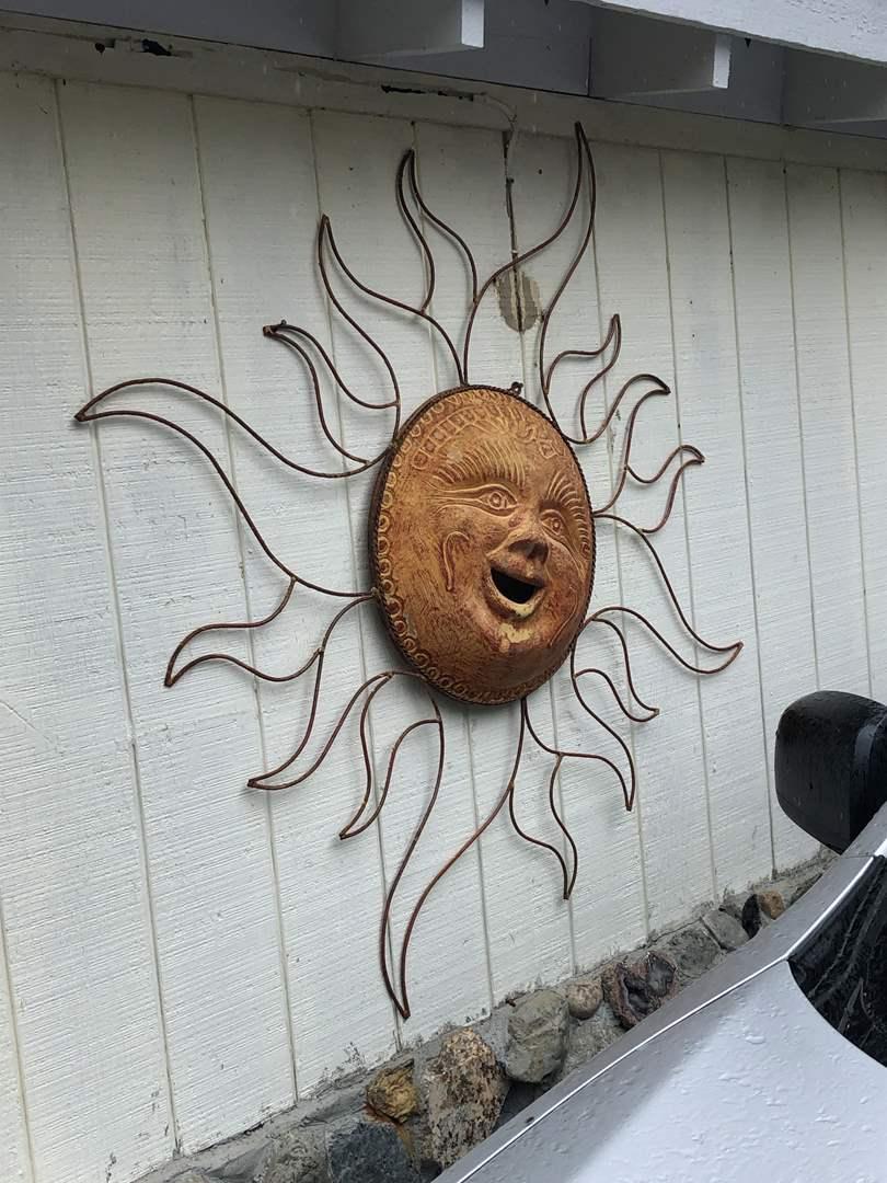 Lot # 174 - Awesome Huge Outdoor Sun w/ Terra Cotta Face & Metal Racks  (main image)
