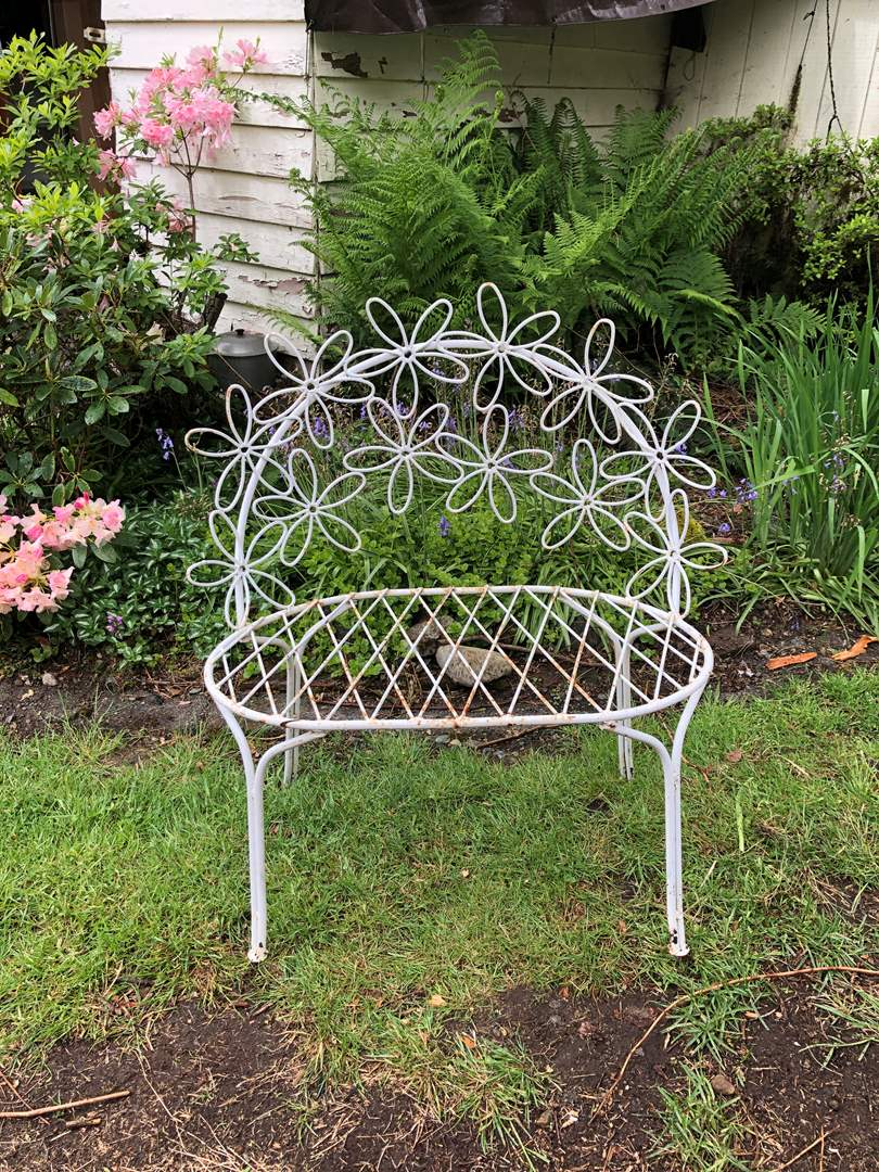 Lot # 175 - Awesome Wrought Iron Daisy Pattern Garden Bench (main image)