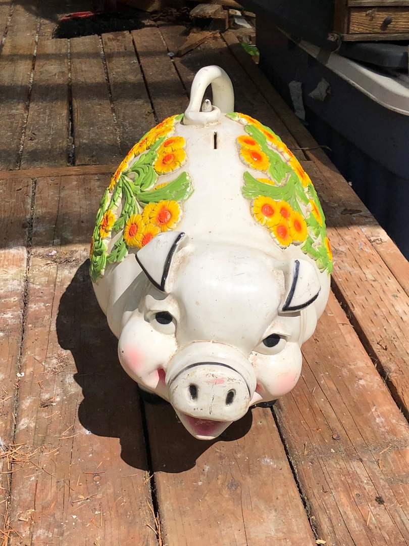 Lot # 255 - Huge Vintage Plastic Piggy Bank (main image)