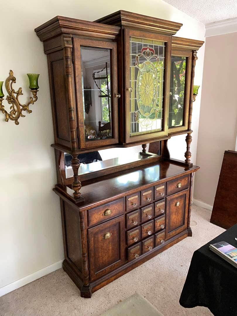 "Lot # 2 - Nice Vintage ""Pulaski"" Furniture 2 Piece Lighted China Hutch (main image)"