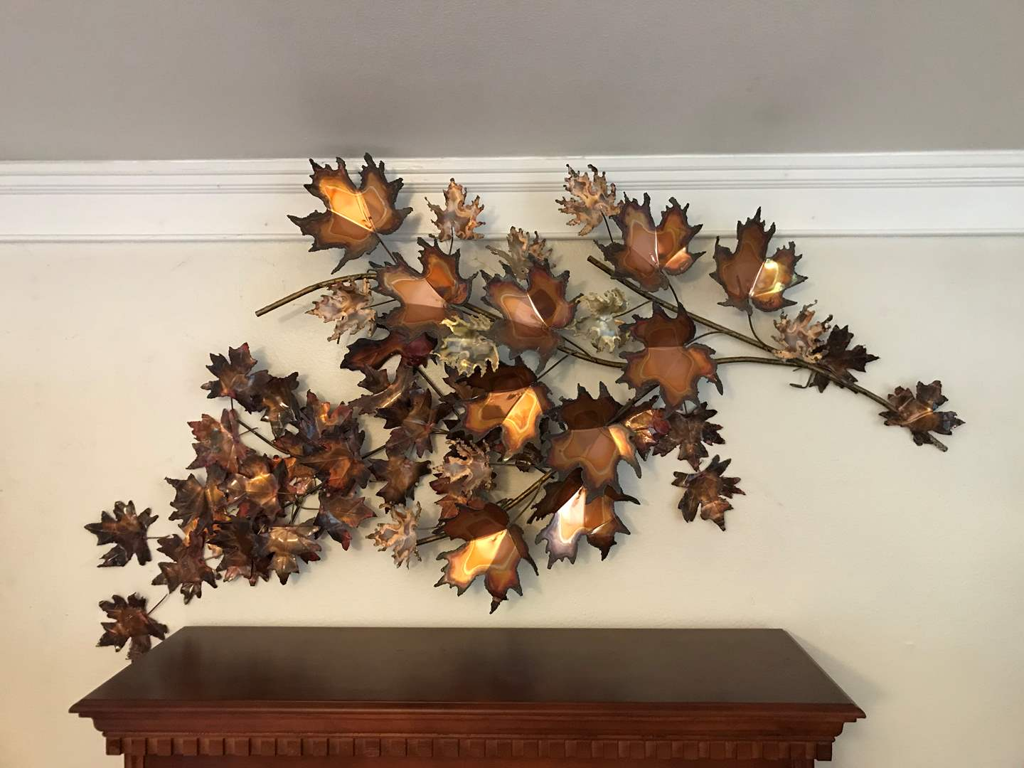 Lot # 9 - Handmade Metal Maple Leaf Wall Art in 2 Main Pieces - (By local artist Carol James) (main image)