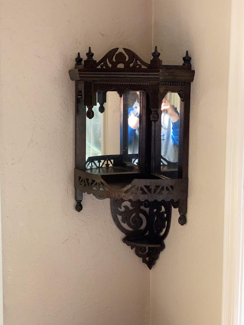 Lot # 25 - Cute Antique Mirrored Wood Corner Shelf  (main image)