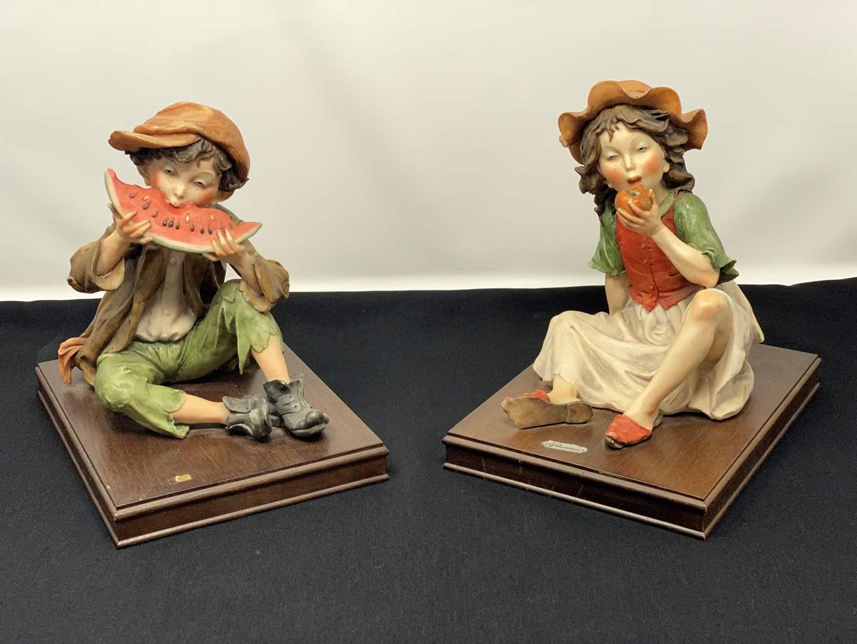 Lot # 29 - Rare Vintage Giuseppe Armani Capodimonte Boy & Girl Figurines  (main image)