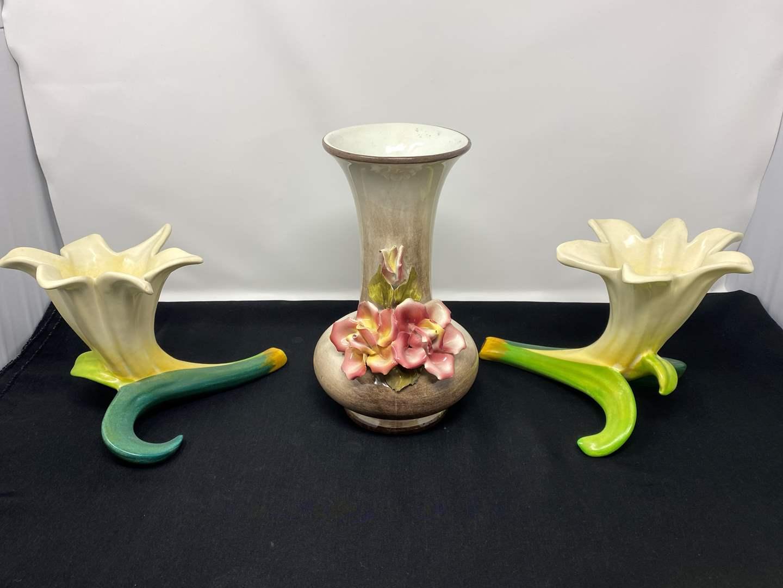 Lot # 30 - Vintage Capodimonte Porcelain Floral Vase w/Two Little Vases  (main image)