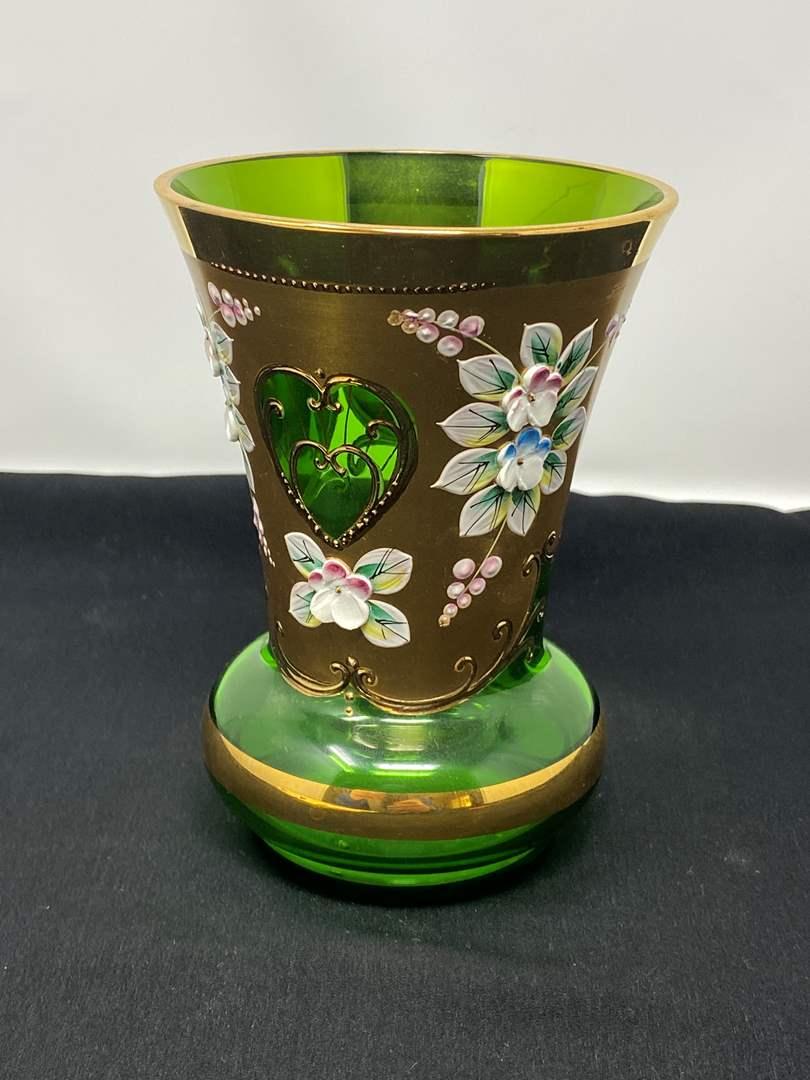 "Lot # 40 - Vintage Small Hand Painted ""Joska"" Green Vase  (main image)"
