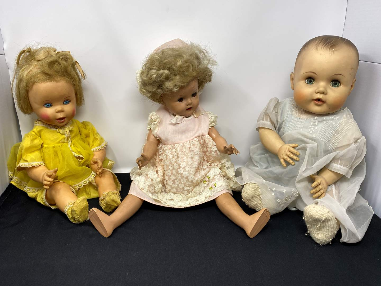 "Lot # 43 - Vintage Mattel Chatty Kathy Dolls, Vintage ""Amer Char Doll"" , Antique/Vintage Bisque Doll (main image)"